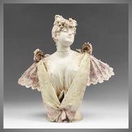 Stellmacher Teplitz Bohemian Porcelain Bust Of Sarah Bernhardt