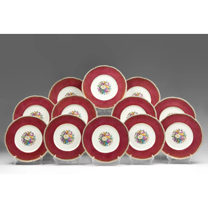 Set Of 12 Cauldon China Service Plates