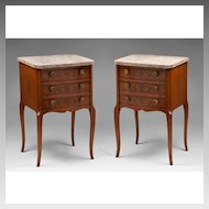 Pair of Vintage Louis XV Style Commodes With Floral Inlay