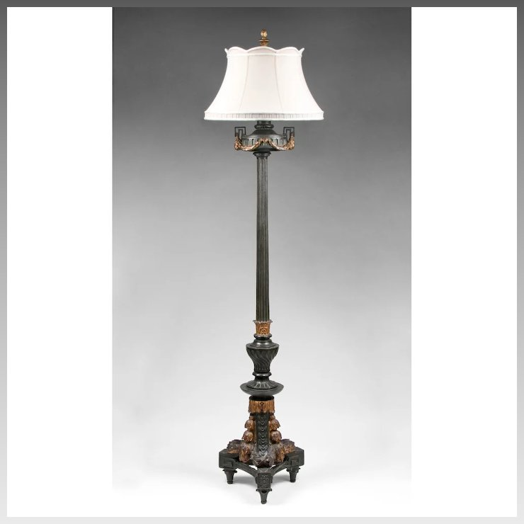 19th c cast iron neoclassical style floor lamp with patinated 19th c cast iron neoclassical style floor lamp with patinated finish aloadofball Image collections