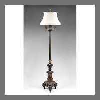 19th C. Cast Iron Neoclassical Style Floor Lamp With Patinated Finish