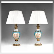 Pair of 19th C. Celeste Blue Hand Painted Sevres Lamps