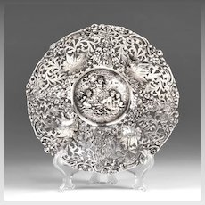 Late 19th C. German 800 Silver Repousse Round Bowl, Hanau