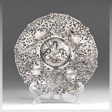 Late 19th C. German 800 Silver Repousse Round Bowl, Hanau