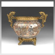 19th C. Satsuma Center Bowl Mounted With Bronze Frame