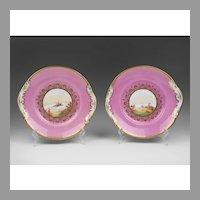 Pr. 19th C. English Scenic Hand Painted Cake Plates