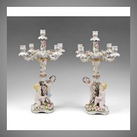 Pair Of Dresden Muller & Co. Porcelain Figural Candelabras