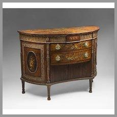 18th C. George III Painted Adams Satinwood Demilune Cabinet