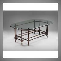 Vintage Faux Bamboo Coffee Table With Glass Top