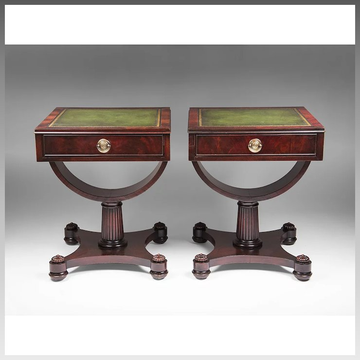 Pair of Mid 20th C. Weiman Leather Top Side Tables - Pair Of Mid 20th C. Weiman Leather Top Side Tables : Pia's Antique