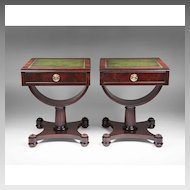 Pair of Mid 20th C. Weiman Leather Top Side Tables