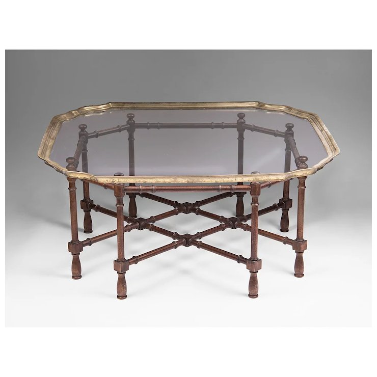 Bon Vintage Baker Furniture Faux Bamboo Coffee Table With Glass Top