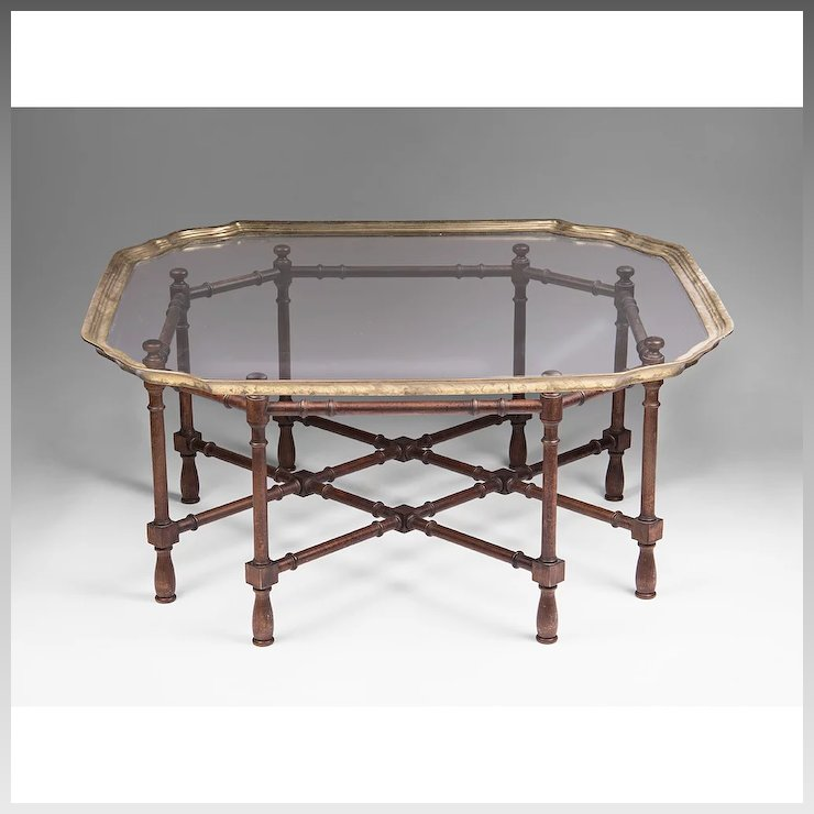 Vintage Baker Furniture Faux Bamboo Coffee Table With Glass Top - Vintage Baker Furniture Faux Bamboo Coffee Table With Glass Top