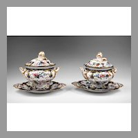 Pr. Of Staffordshire 19th C. New Stone Sauce Tureens, Covers, And Stands