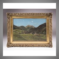 Oil On Canvas By Ernest Victor Hareux, Mountain Landscape