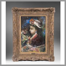 Oil on Canvas of Young Girl by Jean Calogero
