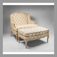 Vintage Louis XV Style Marquise And Ottoman, Painted Frame