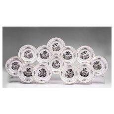 Set of Twelve Samson et Cie Porcelain Dinner Plates Grisaille Decoration