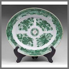 Chinese Export Green Fitzhugh Oval Platter, Monogrammed