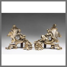 19th C. French Gilt Bronze Figural Chenets