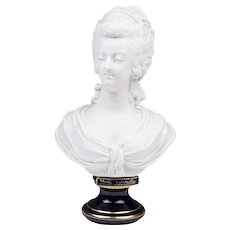 Late 19th C. Sevres Biscuit Bust Of Marie Antoinette On Cobalt Pedestal