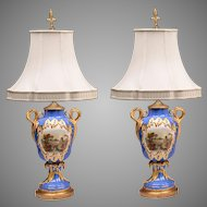 Pair of 1830 English Vases With Named Landscapes Fitted As Lamps