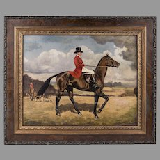 Late 19th C. English Equestrian Hunt Scene, Oil On Board