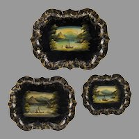 Set of Three Matching Victorian Hand Painted Tole Trays