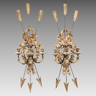 Early 20th C. Italian Carved Wood And Iron Sconces