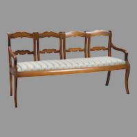 Early 19th C. French Provincial Chestnut Four Part Settee