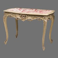 19th C. Louis XV Carved Side Table Polychrome Finish