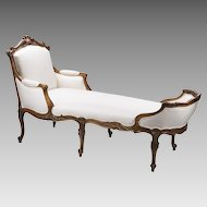 19th C. Hand Carved French La Duchesse Brisee Or Chaise Lounge