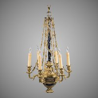French Empire Style Bronze Patinated Petite Chandelier