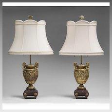 Pair Louis XV Barbedienne Bronze Dore Classical Lamps