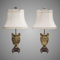 Pair of 19th C. Louis XV Bronze Dore Neoclassical Lamps