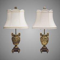 Pair of 19th C. Louis XV Bronze Dore Neoclassical Lamps