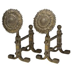 Pair of Aesthetic Movement Sunflower Brass Tool Rests After Thomas Jeckyll