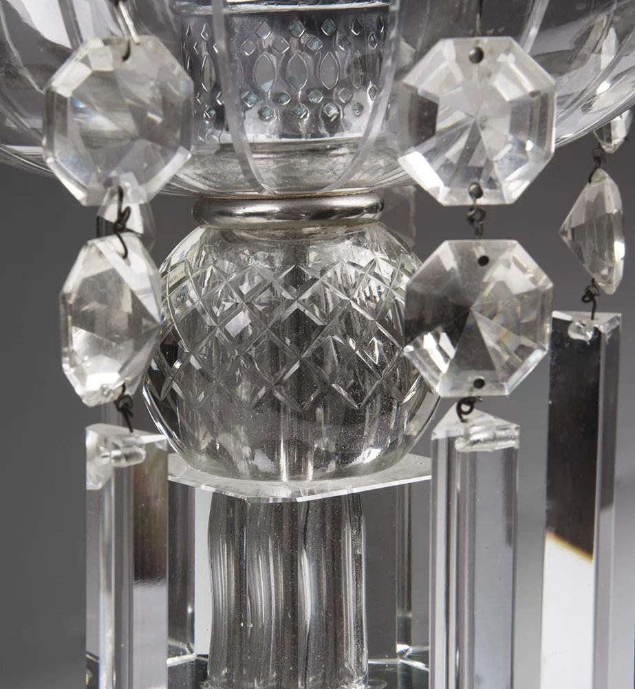 Early 20th C Crystal Lustre With Drop Prisms Amp Hurricane