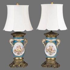 Pair of Sevres Style Vieux Paris Bronze Mounted Lamps