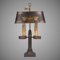 Vintage French Tole Peinte Student Lamp