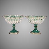 Pr. of 19th C. Vieux Paris Porcelain Rococo Reticulated Compotes