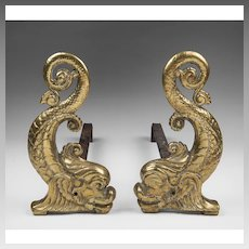 Pair of late 19th C. Brass Dolphin Andirons