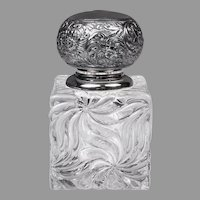 French Baccarat Glass Inkwell, Silverplate Repousse Top