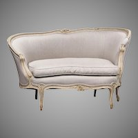 19th C. Beechwood Painted Louis XV Canape en Corbeille or Chaise