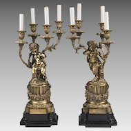 Pair 19th C. Bronze Four Light Candelabras, After Clodion