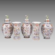 Five Piece Dutch Delft Polychrome Garniture Set
