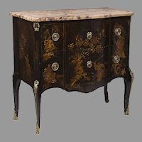 19th C. French Louis XV Style Chinoiserie Lacquered Commode