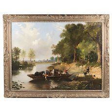 19th C. Oil On Canvas Of Rural English Landscape After Thomas Creswick