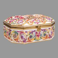 German Porcelain Capodimonte Royal Naples Style Jewelry Box