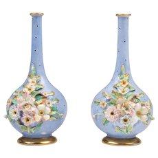 Pair of 19th C. Paris Porcelain Or Vieux Porcelain Bud Vases